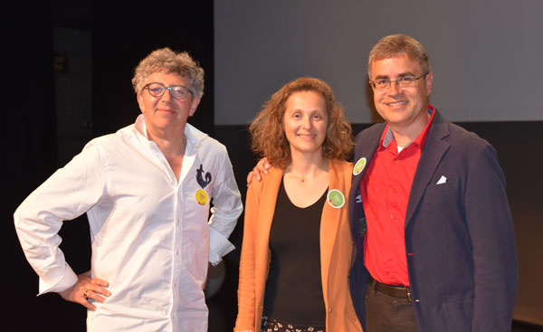 Laurent GROSS (Paris), Laurence ADJADJ (Marseille), Dr Velt MESSMER (Brême) au cours de l'atelier de formation en hypnose médicale, sur les différentes méthodes d'inductions